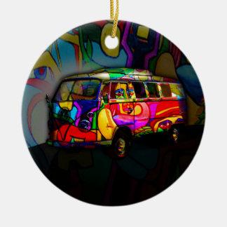 Fourgon hippie ornement rond en céramique