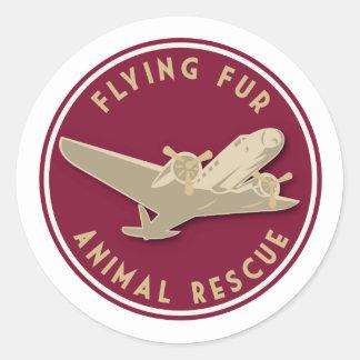 Fourrure de vol - logo rond de ligne aérienne sticker rond
