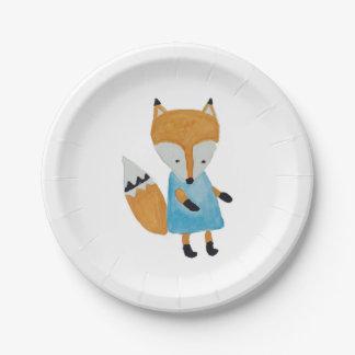 Fox adorable de région boisée d'amis de forêt assiettes en papier