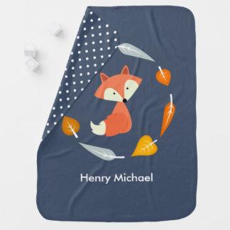 Fox en guirlande de feuille d'automne couverture pour bébé