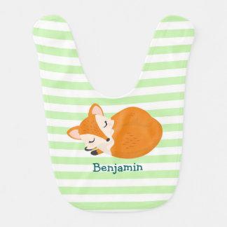 Fox mignon de bébé de sommeil à personnaliser bavoir