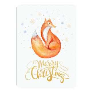 Fox mignon de Joyeux Noël et carte de flocons de
