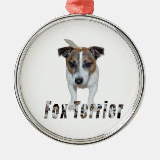 Fox Terrier avec le logo, ornement en métal