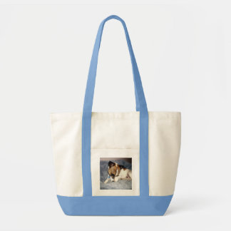 Fox_Terrier_So_Shy, _Pale_Blue_Impulse_Tote_Bag. Tote Bag