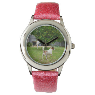 Fox_Terriers_Playing, _Girls_Pink_Glitter_Watch Montres Bracelet