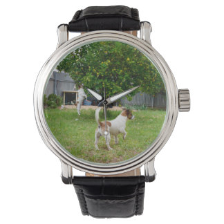 Fox_Terriers_Playing, _Men's_Leather_Watch Montre