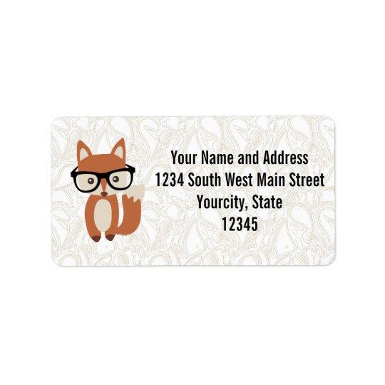 Fox w/Glasses de bébé de hippie Étiquette D'adresse