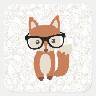 Fox w/Glasses de bébé de hippie Sticker Carré