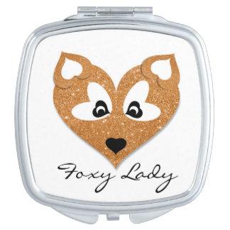 Foxy Lady, Cute Glitter Heart Shaped Fox