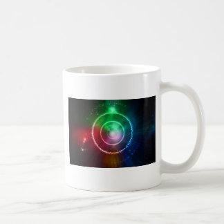 Foyer léger vert-bleu rouge abstrait mug blanc