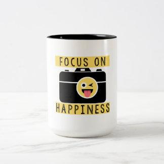 Foyer sur le bonheur - tasse de café de deux tons