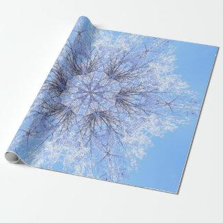Fractale bleue sensible de flocon de neige papier cadeau