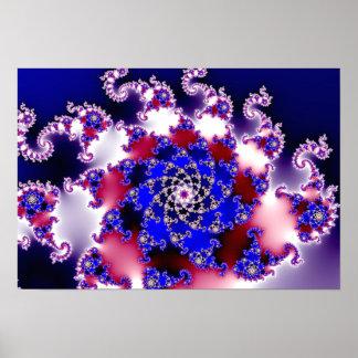 Fractale pourpre d'étoile de Mandelbrot Poster