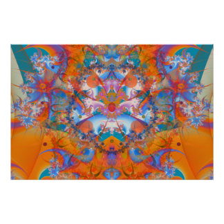 Fractale psychédélique de pont en arc-en-ciel posters