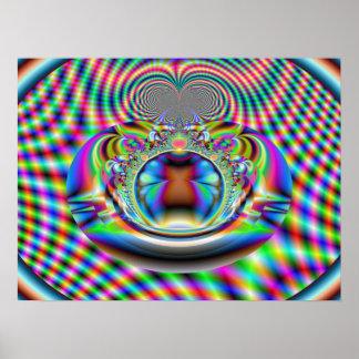 Fractale psychédélique de rayons laser d'arc-en-ci posters