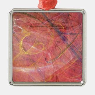 Fractale rouge abstraite ornement carré argenté