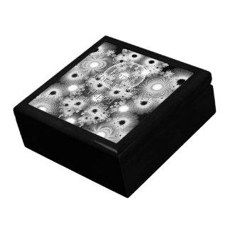Fractales de Noël étoiles noires et de blanc Boîtes À Bijoux