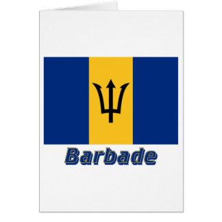 Français de Drapeau Barbade avec le nom en Carte