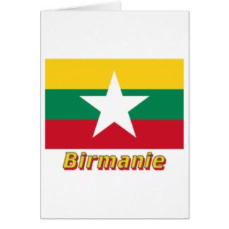 Français de Drapeau Birmanie avec le nom en Carte