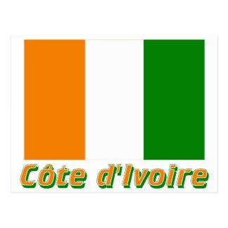 Français de Drapeau Côte d'Ivoire avec le nom en Carte Postale