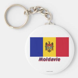 Français de Drapeau Moldavie avec le nom en Porte-clé Rond