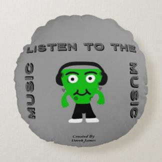 FrankenCheese écoutent le coussin rond de musique