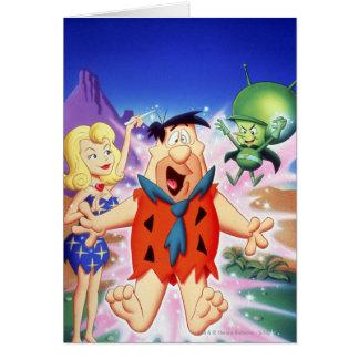 Fred Flintstone onder een Werktijd Kaart