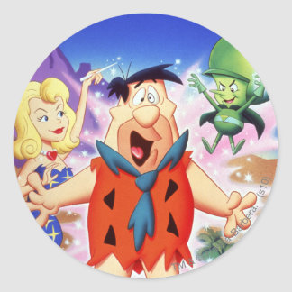 Fred Flintstone onder een Werktijd Ronde Sticker