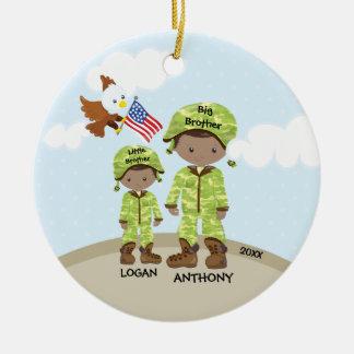 Frère peu d'ornement de Noël de soldat de Bro Ornement Rond En Céramique