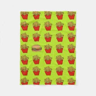 frieten en de deken van de hamburgervacht
