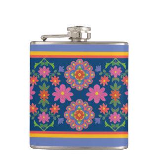 Frontière florale de motif de Rangoli sur le Flasques