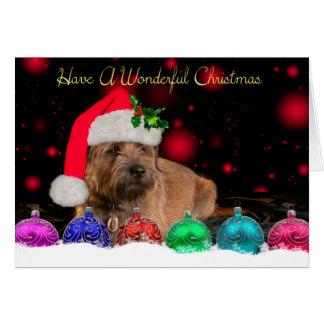 Frontière Terrier dans la carte de Noël de chapeau