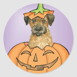 Frontière Terrier de Halloween Sticker Rond