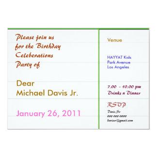 Frontière verte de Pearl White avec le texte Carton D'invitation 12,7 Cm X 17,78 Cm