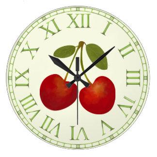 Fruits rouges de cerises grande horloge ronde