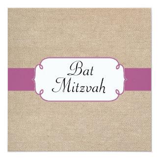 Fuchsia pourpre et bat mitzvah beige de toile de carton d'invitation  13,33 cm