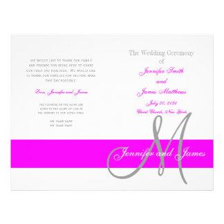 Fuchsiakleurig Grijs Programma | van het Huwelijk Flyer 21,6 X 27,9 Cm