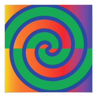 Funky Plons van de Kleur van het Patroon van 13,3x13,3 Vierkante Uitnodiging Kaart