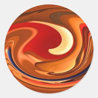 Funky Samenvatting Gebrand Oranje en Rood Ontwerp Ronde Sticker