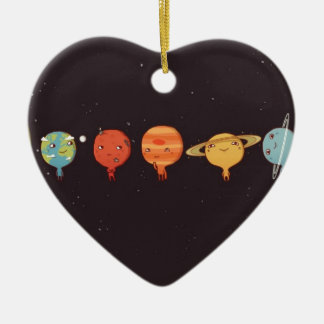 Funny planet ornement cœur en céramique