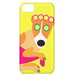 Funny Spa Hond in Krulspelden Hoesje Voor iPhone 5C