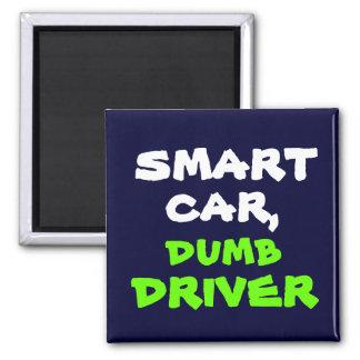 futé, muet, voiture, conducteur magnet carré