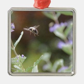 Gaffez l'abeille ornement carré argenté