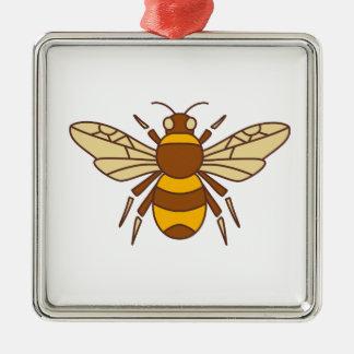 Gaffez l'icône d'abeille ornement carré argenté