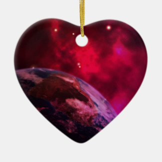 Galaxie violette 2 - purple galaxy ornement cœur en céramique