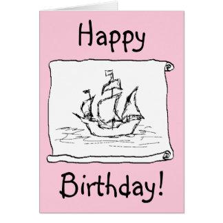 Galion de bateau de pirate ! Carte d'anniversaire