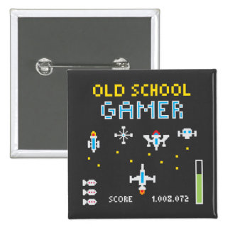 Gamer de vieille école - Stellarship - bouton Badge Carré 5 Cm