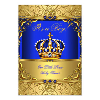 Garçon de baby shower de couronne d'or de damassé carton d'invitation 8,89 cm x 12,70 cm