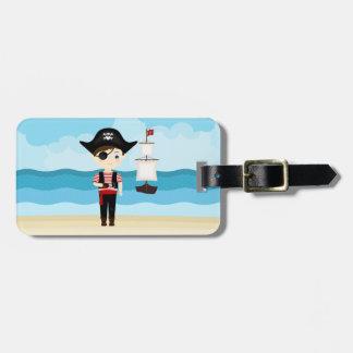 Garçon de pirate étiquette à bagage