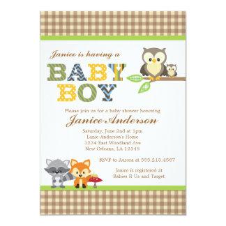 Garçon d'invitation de baby shower de hibou de carton d'invitation  12,7 cm x 17,78 cm